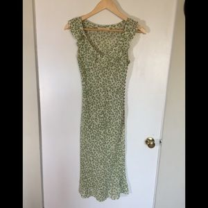 Chloe White and Green Silk Dress Early 2000s